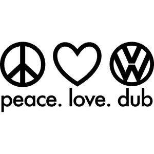 2x 'Peace Love Dub' Car/Van/Window Decal Sticker