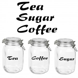 2x Tea Coffee Sugar glass canister label Decals Stickers