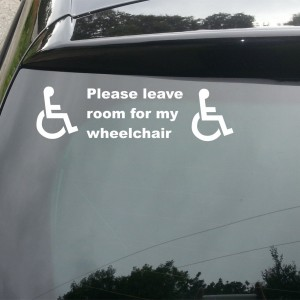 'Please leave room for my wheelchair' Car/Van/Window Decal Sticker